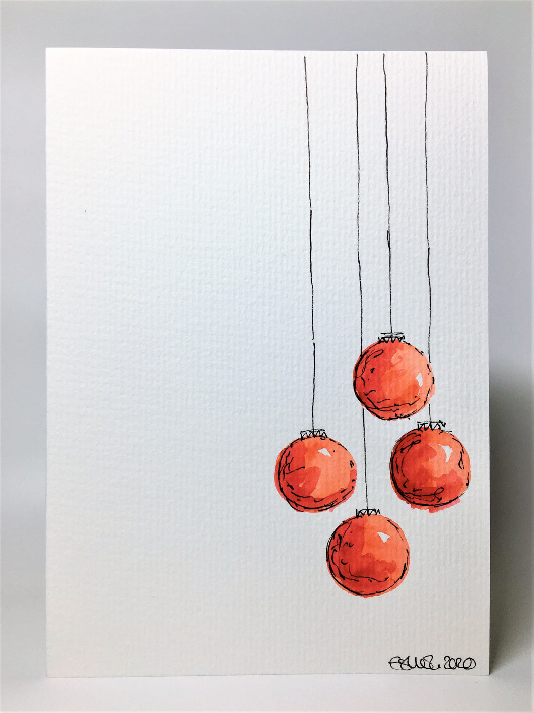 Original Hand Painted Christmas Card - Bauble Collection - 4 Red Baubles Design