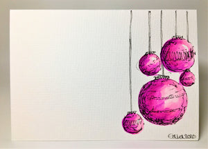 Original Hand Painted Christmas Card - Bauble Collection - Pink and Purple Design