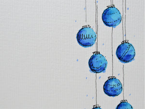 Original Hand Painted Christmas Card - Bauble Collection - Turquoise and Blue