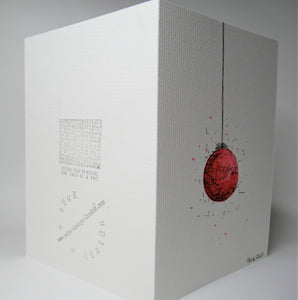 Original Hand Painted Christmas Card - Bauble Collection - Red Design