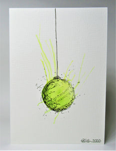 Original Hand Painted Christmas Card - Bauble Collection - Lime Green Splatter