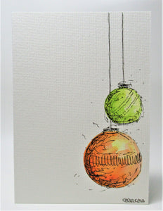 Original Hand Painted Christmas Card - Bauble Collection - Lime Green and Orange