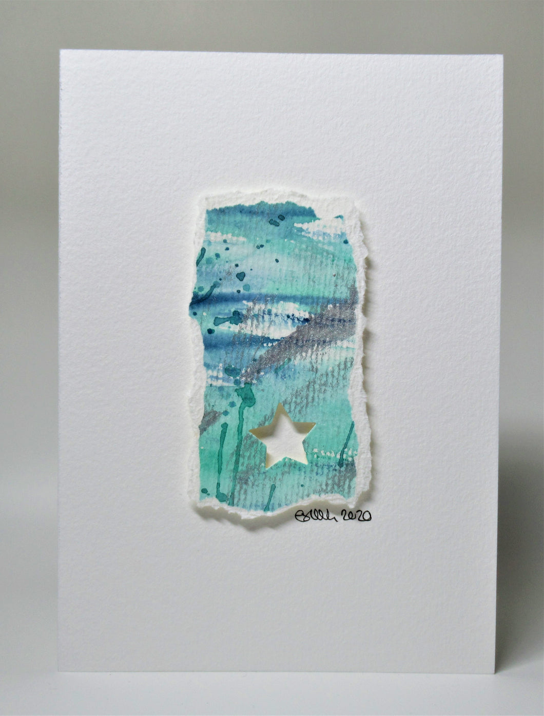 Original Hand Painted Christmas Card - Star Collection - Abstract cut out design
