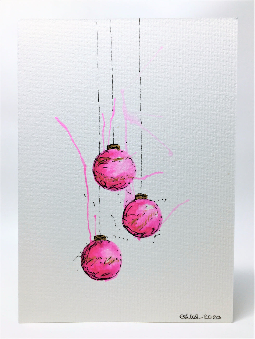 Original Hand Painted Christmas Card - Bauble Collection - Pink and Gold Splatter Design