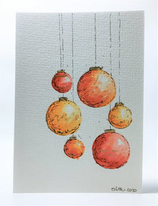 Original Hand Painted Christmas Card - Bauble Collection - Red, Orange and Gold