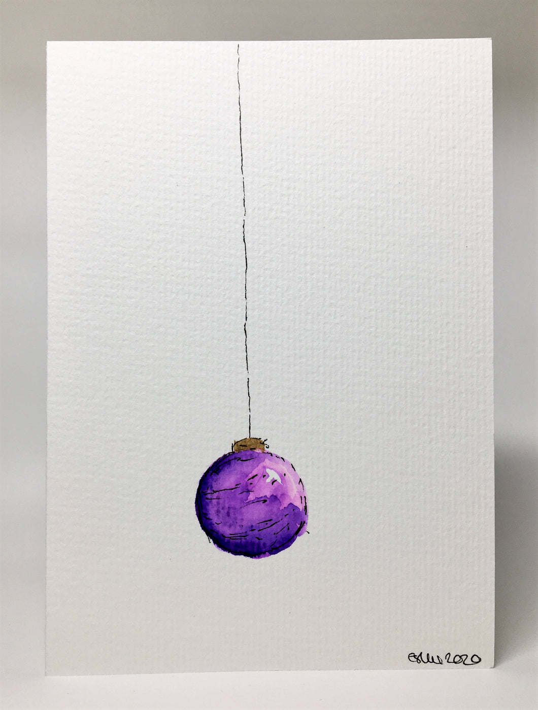 Original Hand Painted Christmas Card - Bauble Collection - Purple and Gold design