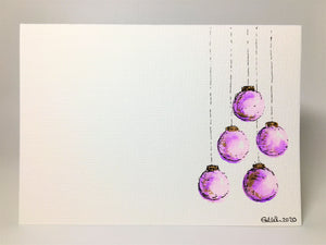 Original Hand Painted Christmas Card - Bauble Collection - Lilac and Gold Baubles