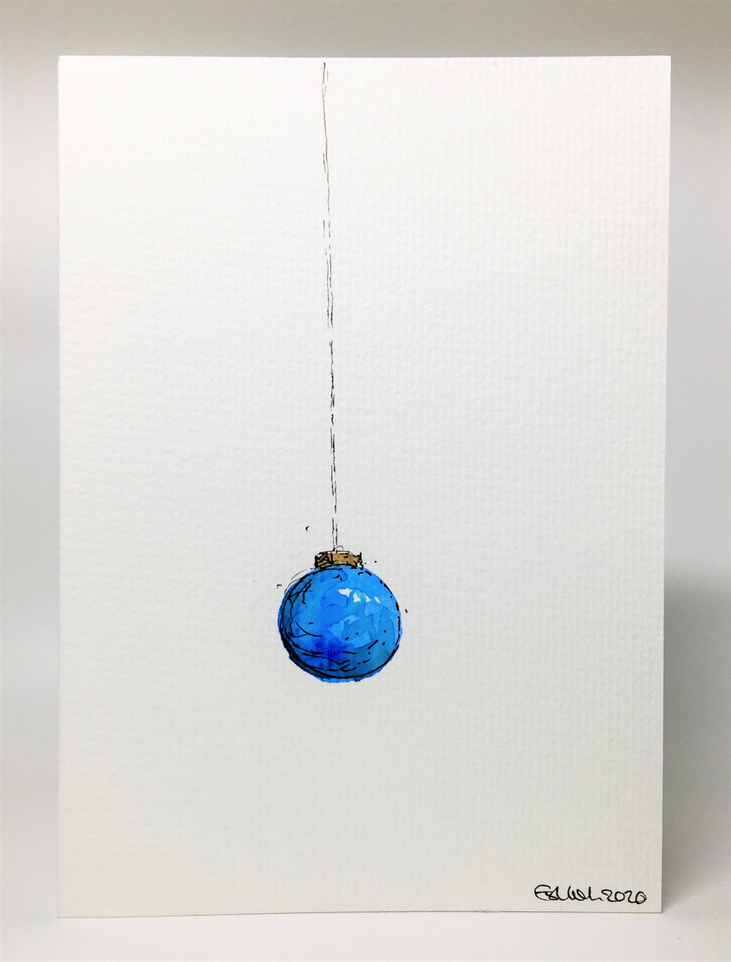Original Hand Painted Christmas Card - Bauble Collection - Blue and Gold design