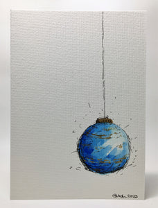Original Hand Painted Christmas Card - Bauble Collection - Large Blue and Gold Bauble