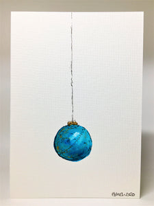Original Hand Painted Christmas Card - Bauble Collection - Aqua and Gold design