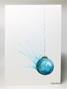 Original Hand Painted Christmas Card - Bauble Collection - Aqua and Gold Splatter Bauble