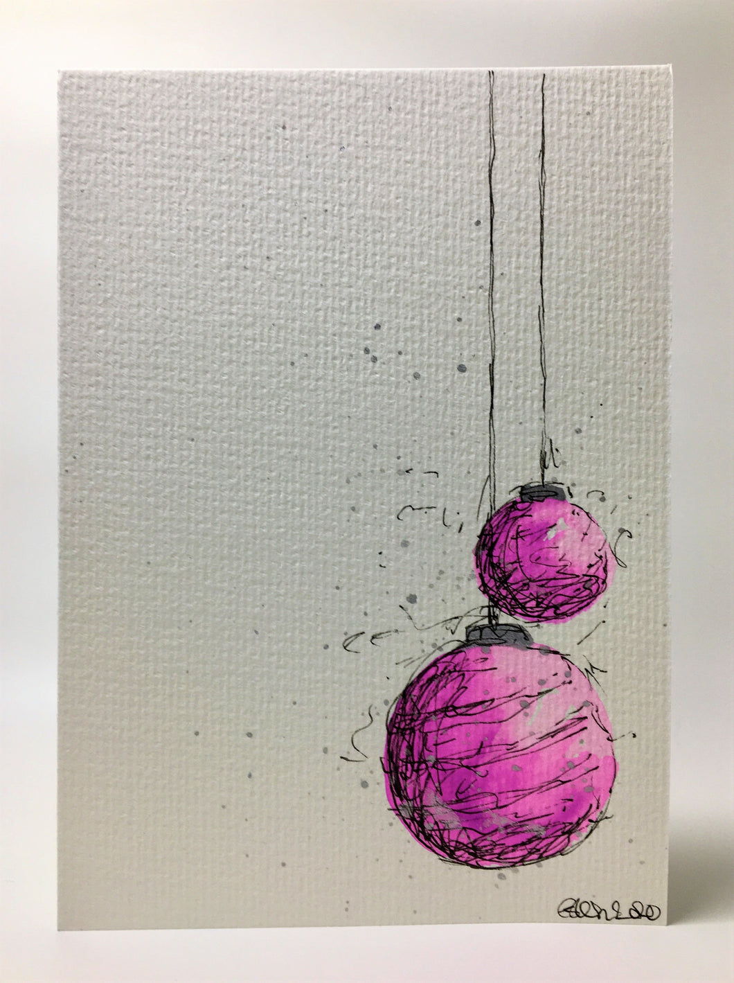 Original Hand Painted Christmas Card - Bauble Collection - Pink and Silver Splatter Baubles