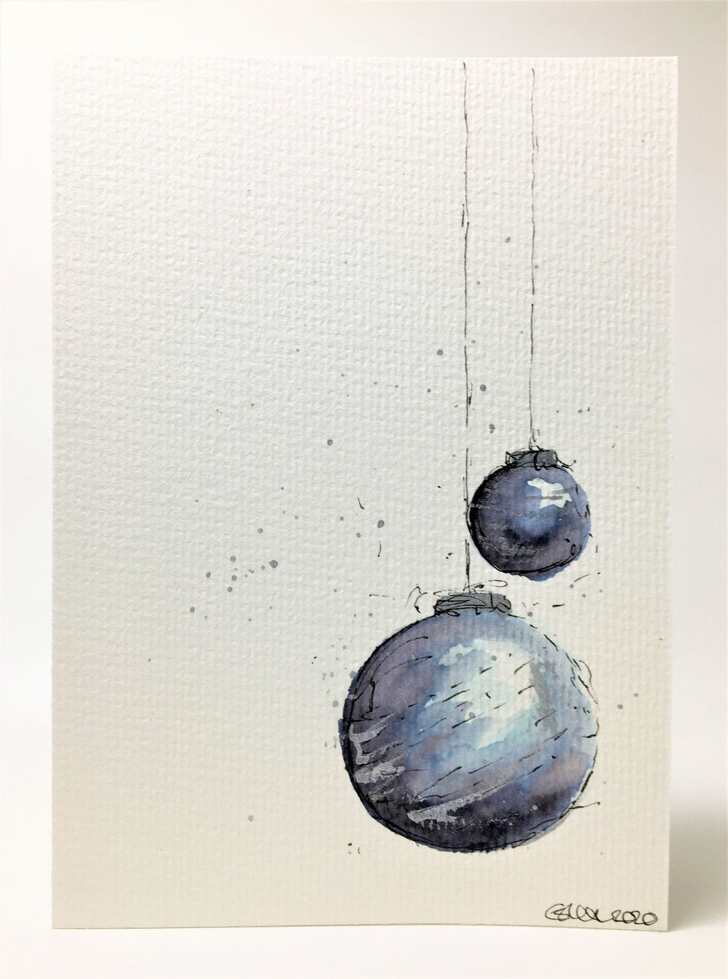 Original Hand Painted Christmas Card - Bauble Collection - Black, Grey, Blue and Silver Baubles