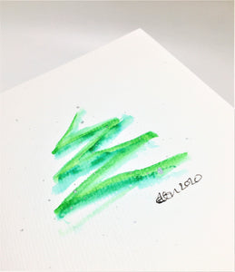 Original Hand Painted Christmas Card - Tree Collection - Abstract tree with silver splatter