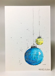 Original Hand Painted Christmas Card - Bauble Collection - Blue, Yellow and Silver Baubles