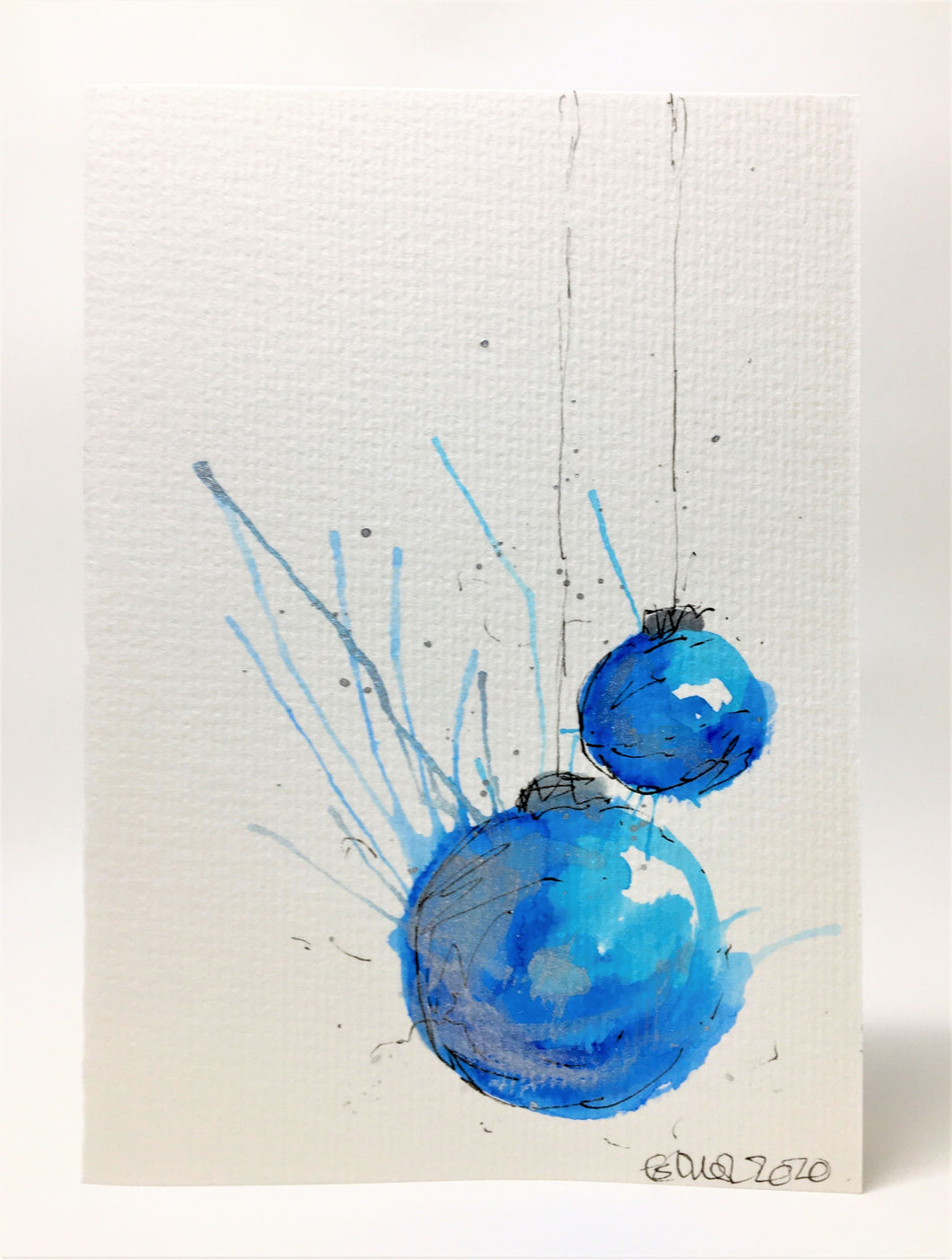 Original Hand Painted Christmas Card - Bauble Collection - Blue, Turquoise and Silver Splatter Baubles