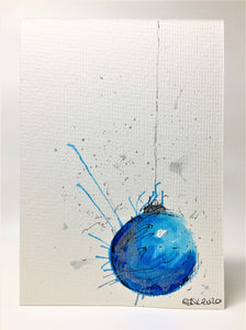 Original Hand Painted Christmas Card - Bauble Collection - Blue, Turquoise and Silver Splatter Bauble