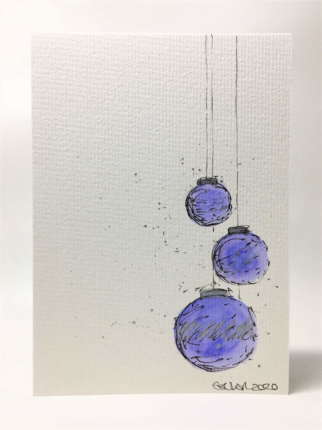 Original Hand Painted Christmas Card - Bauble Collection - 3 Lilac and Silver Splatter Baubles