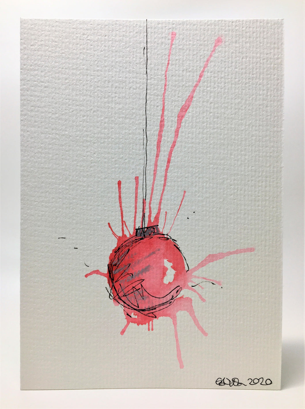 Original Hand Painted Christmas Card - Bauble Collection - Red, Pink and Silver Splatter Bauble - eDgE dEsiGn London