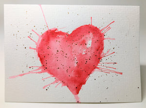Original Hand Painted Greeting Card - Valentine - Large Red and Gold Heart