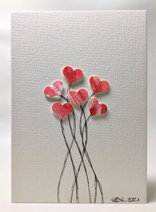 Original Hand Painted Greeting Card - Six Red and Pink Heart Flowers