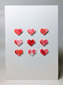 Original Hand Painted Greeting Card - Red and Pink Hearts Square