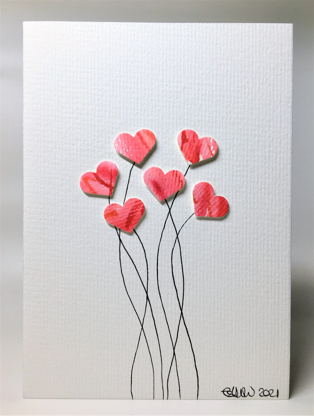 Original Hand Painted Greeting Card - Six Pink and Red Heart Flowers - eDgE dEsiGn London