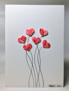 Original Hand Painted Greeting Card - Six Pink and Red Heart Flowers