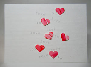 Original Hand Painted Greeting Card - 6 random hearts and love
