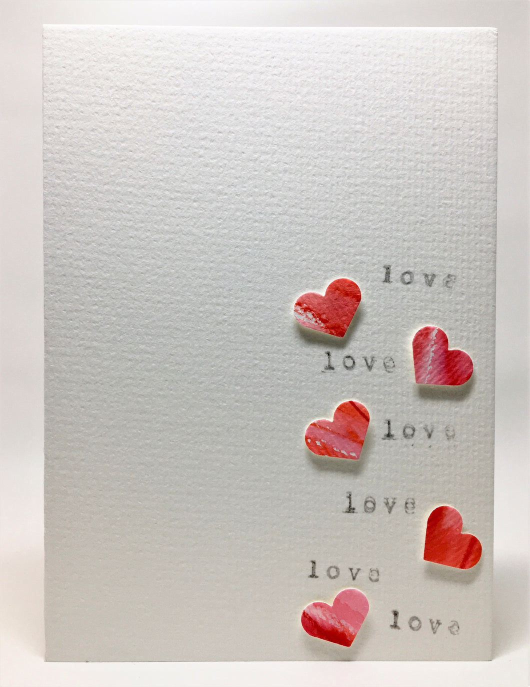 Original Hand Painted Greeting Card - 5 Hearts and Love