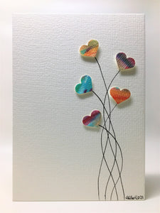 Original Hand Painted Greeting Card - Five Multicoloured Heart Flowers