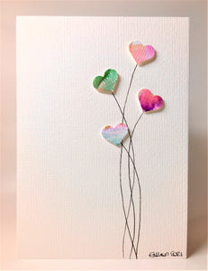 Original Hand Painted Greeting Card - Four Green, Purple and Gold Heart Flowers