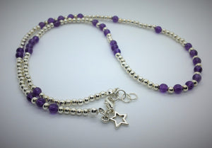 Amethyst and Silver beaded necklace/bracelet - Lacelet by eDgE dEsiGn London