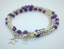 Amethyst and Silver beaded necklace/bracelet - Lacelet by eDgE dEsiGn London - eDgE dEsiGn London