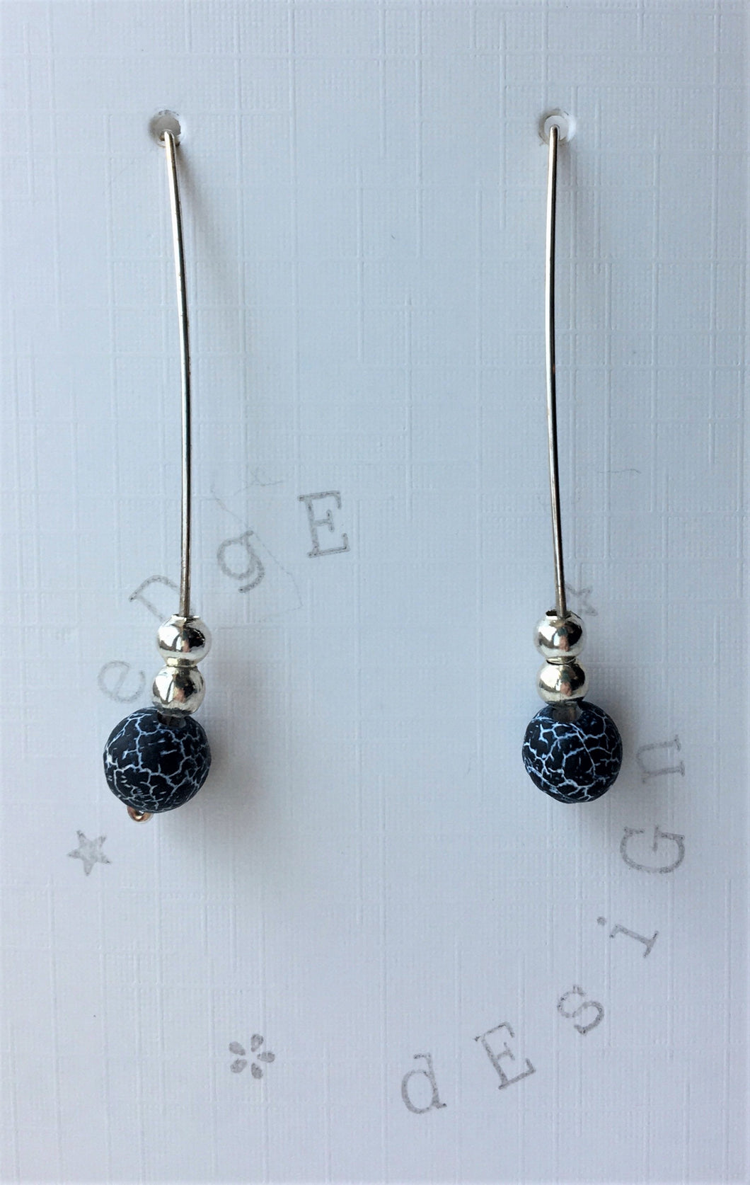 Silver Wire Drop Earrings - Grey Frosted Agate and Silver beads - eDgE dEsiGn London