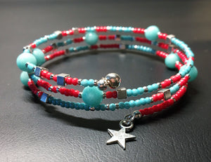 Beaded memory wire bracelet - Coral, turquoise and silver beads with star pendant - eDgE dEsiGn London