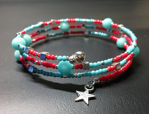 Handmade memory wire beaded bracelet - turquoise, coral, silver beads and silver star pendant