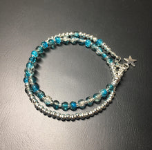 Beaded bracelet - double wrap - silver with turquoise/brown crackle glass beads - eDgE dEsiGn London