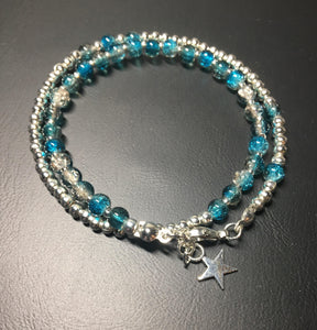 Beaded bracelet - double wrap - silver with turquoise/brown crackle glass beads