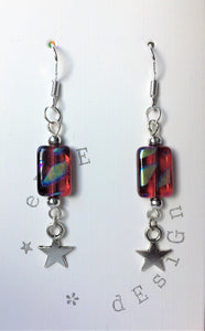 Silver drop earrings - Red Murano Glass with Silver Star - eDgE dEsiGn London
