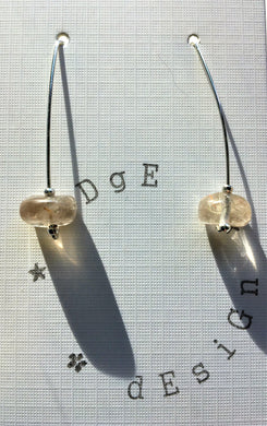 Sterling silver wire drop earrings with single rutilated quartz bead - handcrafted by eDgE dEsiGn London