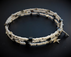Beaded memory wire bracelet - White, silver and Hematite beads and cubes with star pendants