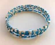 Beaded memory wire bracelet - Turquoise and silver with cube detail