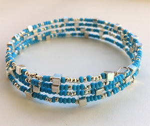 Beaded memory wire bracelet - Turquoise and silver with cube detail - eDgE dEsiGn London