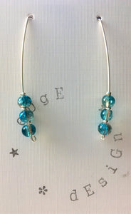 Sterling silver wire earrings - turquoise and brown crackle glass beads