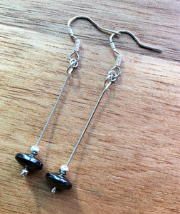 Sterling silver dangle earrings - Hematite disc bead