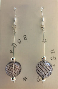 Sterling Silver dangle earrings - Hand blown Murano glass