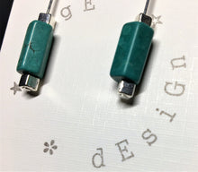 Sterling silver earrings - Jade ceramic tube with silver cube beads