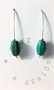 Sterling silver wire earrings with Jade green ceramic bead - eDgE dEsiGn London