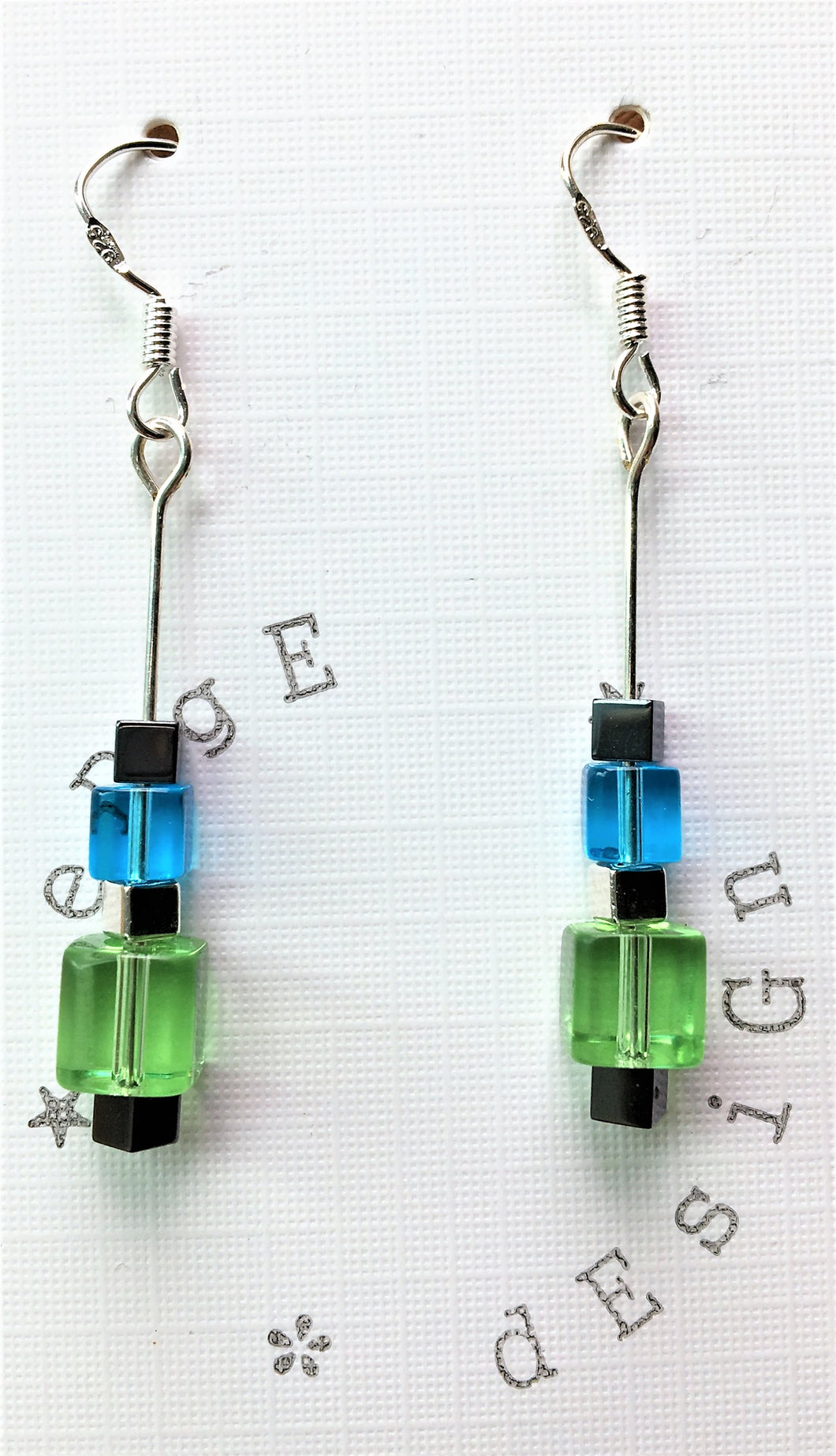 Sterling silver earrings - Green, Blue, Black Glass and Silver Cube beads